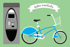 Rental bikes. Vector set of illustrations in the flat style with a bikeы and terminal Stock Photography