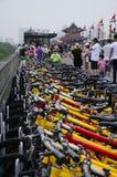 Rental Bikes on Xian city wall China Royalty Free Stock Photo