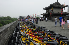 Rental Bikes on Xian city wall China Stock Photos
