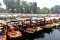 The rental boat in Houhai Lake area in beijing.  Royalty Free Stock Image