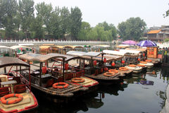 The rental boat in Houhai Lake area in beijing.  Royalty Free Stock Photography
