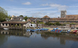 Rental boats on the River Frome Wareham England UK Royalty Free Stock Photography