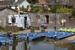 Rental boats on the River Frome Wareham England UK Royalty Free Stock Images