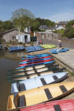 Rental boats on the River Frome Wareham England UK Stock Images