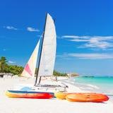 Rental boats at Varadero beach in Cuba Royalty Free Stock Image
