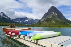 Rental Canoes at Many Glaciers Hotel, Montana Royalty Free Stock Image