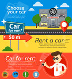Rental car banners. Rent a cars and trading Cars in flat design web banners elements. Keys to the car on rent. Rental car infographic. Web design elements Royalty Free Stock Photos