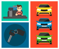 Rental car banners. Rent a cars and trading Cars in flat design web banners elements. Keys to the car on rent. Rental car infographic. Web design elements Royalty Free Stock Photography