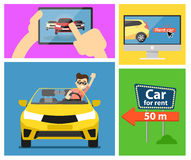 Rental car banners. Rent a cars and trading Cars in flat design web banners elements. Keys to the car on rent. Rental car infographic. Web design elements Stock Photography