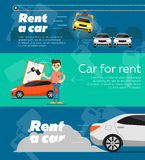 Rental car banners. Rent a cars and trading Cars in flat design web banners elements. Keys to the car on rent. Rental car infographic. Web design elements Royalty Free Stock Photo