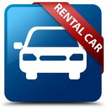 Rental car blue square button red ribbon in corner. Rental car isolated on blue square button with red ribbon in corner abstract illustration Stock Photos