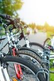 Rental city bike station Stock Photo