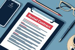 Rental Contract Concept. Vector Halftone Isometric Illustration. stock images