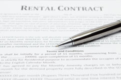 Rental contract Royalty Free Stock Photography