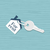 Rental estate. Sale property. House key with trinket house shaped,  on a wooden table background. Rental estate. Sale property template. Vector illustration flat Stock Image