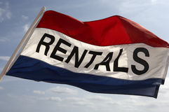 Rental flag. Flying in breeze on south beach fort Lauderdale, Miami, united states taken in march 2006 Stock Photos