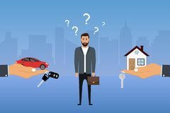 Man makes a choice between a car and a house. Businessman chooses investing options. Buyer decides what to buy. Vector. Illustration vector illustration