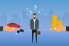 Man makes a choice between a car and money. Businessman chooses options. Buyer decides to buy a automobile or not. Vector. Illustration stock illustration