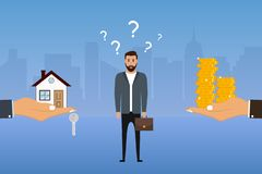 Man makes a choice between a house and money. Businessman chooses options. Buyer decides to buy apartment or not. Vector. Illustration royalty free illustration