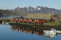 Rental houses in Svolvaer, Lofoten Stock Photo