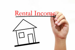 Rental income - House with text and male hand with pen. House with text and male hand with pen Stock Image