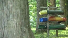 Rental Kayaks on the beach (1 of 4) stock video