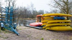 Rental kayaks and canoes at Welna River Wielkopolska stock photo