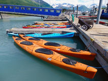 Rental kayaks on a quiet sunday in alaska Royalty Free Stock Images