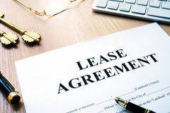 Rental lease agreement form. Royalty Free Stock Photos
