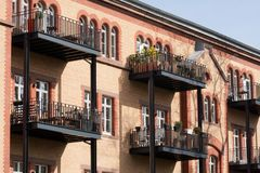 Rental market in Germany. A facade of a rental building in Düsseldorf, Germany royalty free stock photos