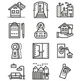 Rental of property line icons Stock Photo