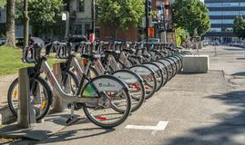 Montreal bixi bikes Stock Photography