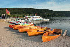 Rental rowboats at Lakeshore Titisee in the Black Forrest Royalty Free Stock Image