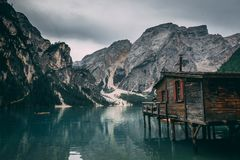 Braise. Rental shop in Lake Braise, Trentino, Italy Royalty Free Stock Photos
