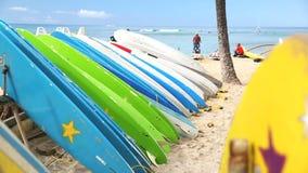Rental surfboards at Waikiki Beach Hawaii stock video footage