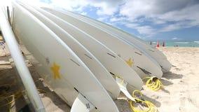Rental surfboards at Waikiki Beach Hawaii stock video