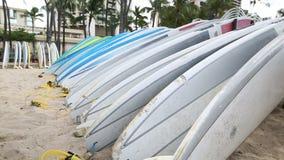 Rental surfboards at Waikiki Beach Hawaii stock footage