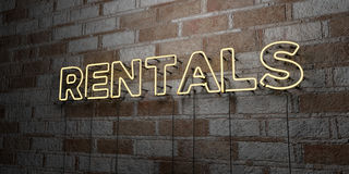 RENTALS - Glowing Neon Sign on stonework wall - 3D rendered royalty free stock illustration royalty free illustration