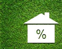 Rente Rate Symbol op Grasachtergrond stock afbeelding