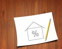 Rente Rate Symbol op Houten Achtergrond stock afbeelding