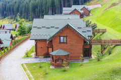 Rented accomodation. Resort area in the Bukovel royalty free stock image