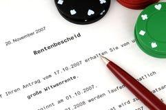Rentenbezugzustimmungsbescheinigung Lizenzfreies Stockfoto