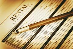 Renter Application Concept. Renter Application Signing Concept. Rental Legal Document Stock Photos