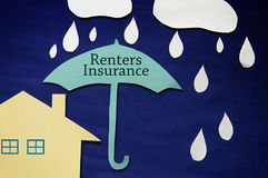 Renters Insurance house. Paper rain and clouds with Renters Insurance umbrella and house Royalty Free Stock Photo