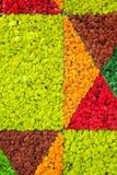 Rentierflechte-Wand-, Rote, Orange und Gr?newanddekoration gemacht von Rentierflechte Cladonia rangiferina, Hausinnenmodell lizenzfreies stockfoto