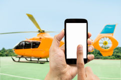 Renting the helicopter Stock Photos