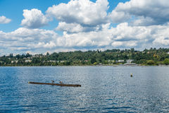 Renton Shoreline. A view of the shoreline on Lake Washington in Renton. Homes and Coulon Park are in the scene Royalty Free Stock Photo