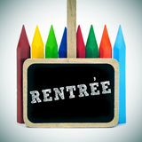 Rentree, back to school written in french Royalty Free Stock Photos