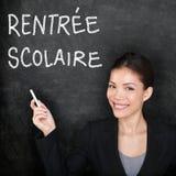 Rentree Scolaire - fransk lärare tillbaka till skolan Arkivfoton