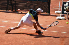Renzo Olivo playing at ATP Genoa Open. Renzo Olivo (ARG) playing at ATP Genoa Open Challenger 2011 (Italy Royalty Free Stock Photos